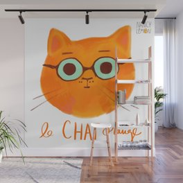Le Chat Orange Wall Mural