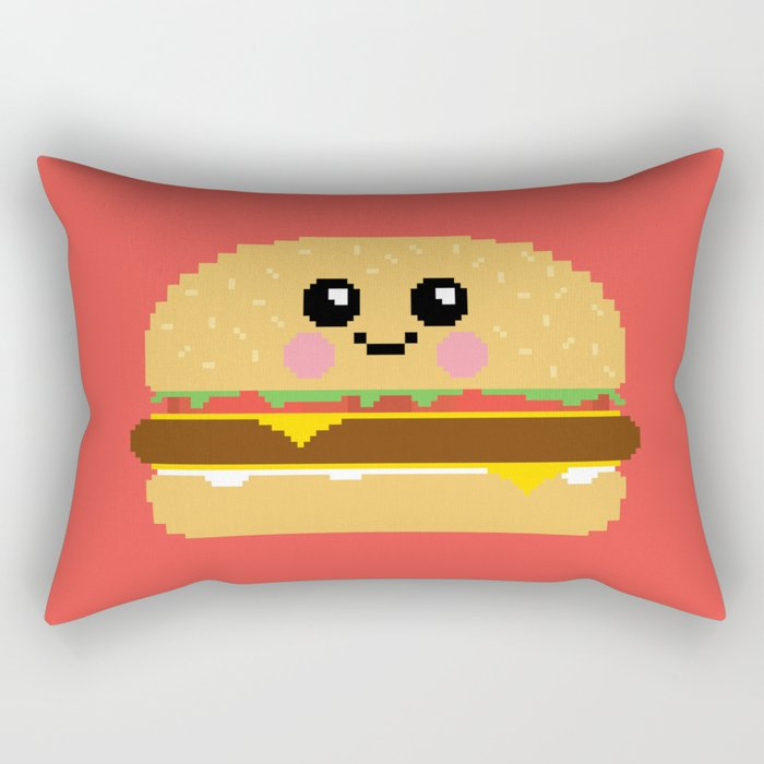 Happy Pixel Hamburger Rectangular Pillow