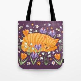 Sleepy Cat in a Spring Garden Tote Bag