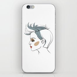 Woman with trendy haircut. Abstract face. Fashion illustration iPhone Skin