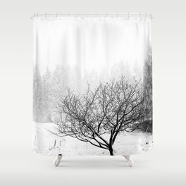feral fruit tree in snow Shower Curtain