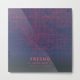Fresno, United States - Neon Metal Print