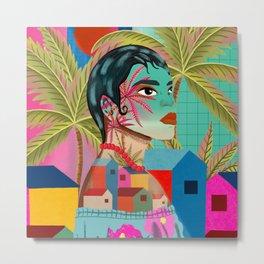 tropical city woman Metal Print