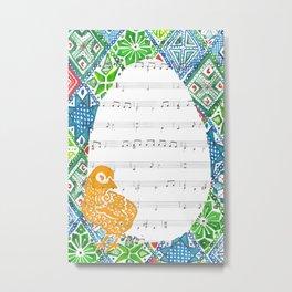 Easter Chick  (Acrylic on hymn) Metal Print