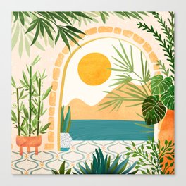 Villa View Tropical Landscape / Villa Series Canvas Print