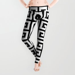 Greek Key (Black & White Pattern) Leggings