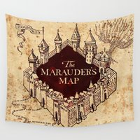 marauders Wall Tapestries featuring MARAUDERS MAP by Graphic Craft