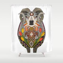Aries ram white Shower Curtain
