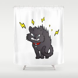 cartoon scared black cat Shower Curtain