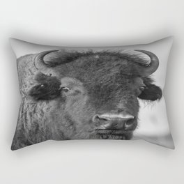 Buffalo Stance - Bison Portrait in Black and White Rectangular Pillow