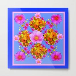 Blue Art Pink Roses Gold Daffodils Metal Print