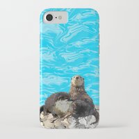 otters iPhone & iPod Cases featuring Where the River Meets the Sea Otters by Distortion Art