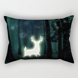 Dark Green Forest with Glowing Reindeer and Shimmering Lights Rectangular Pillow
