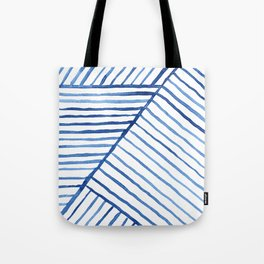 Abstract geometric blue stripes watercolor print Tote Bag