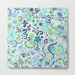 Teal Blue Green Zendoodle Metal Print