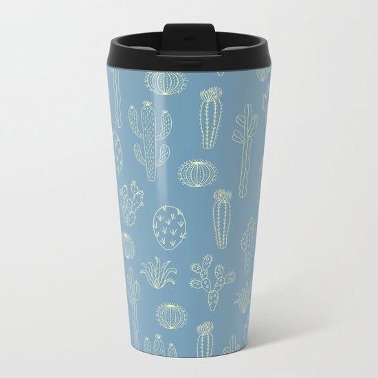 Cactus Silhouette Blue Metal Travel Mug