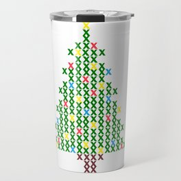 Cross Stitch Christmas Tree Travel Mug