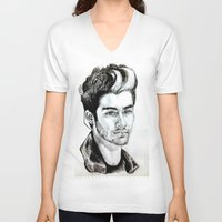 zayn malik V-neck T-shirts featuring Zayn Malik drawing by Clairenisbet