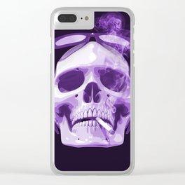 Skull Smoking Cigarette Purple Clear iPhone Case