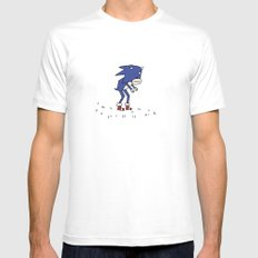 Sad Sonic The Hedgehog In A Field MEDIUM Mens Fitted Tee White