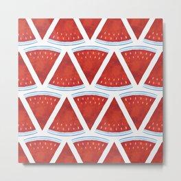 Red Watermelon Pattern Metal Print