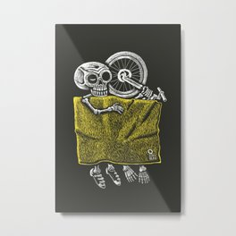 skeleton in bed with his bike Metal Print