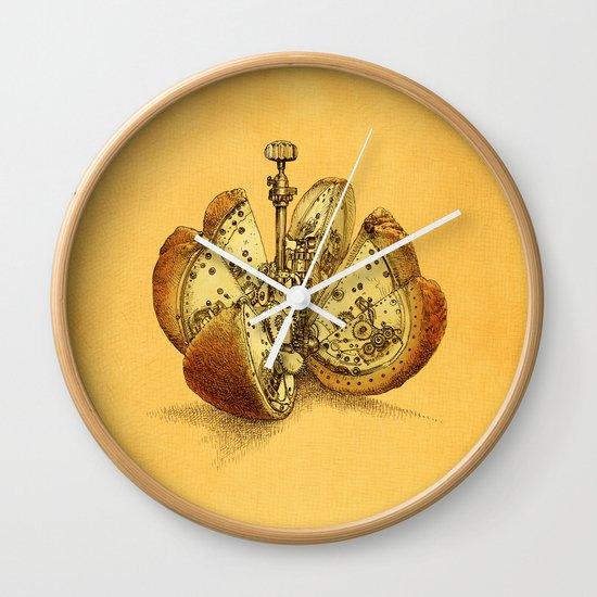 Steampunk Orange Wall Clock