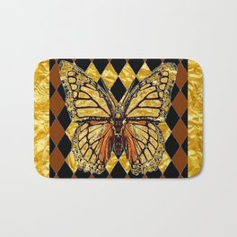 ABSTRACTED BROWN & GOLD MONARCH BUTTERFLY Bath Mat