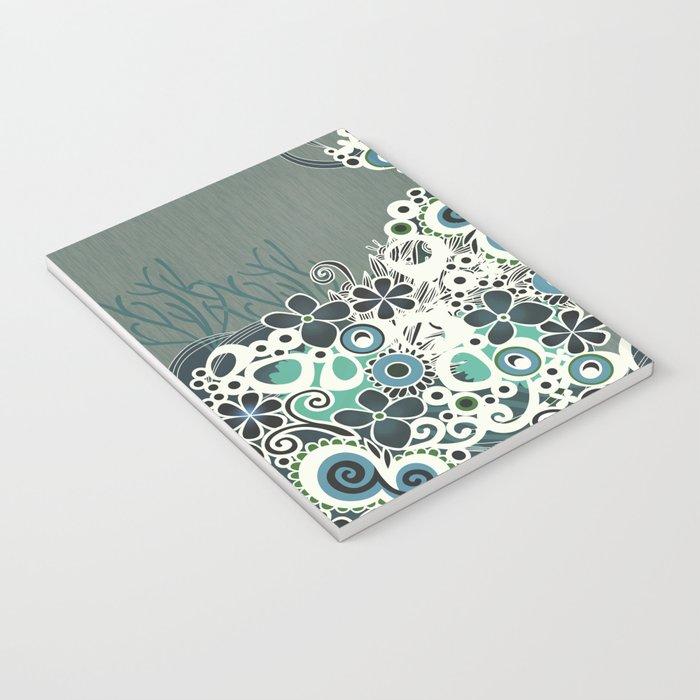 Diagonal flower – blue and green fiber Notebook