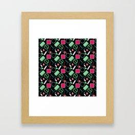 Contraception Pattern (Black) Framed Art Print