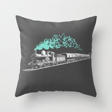 Butterfly Train Throw Pillow