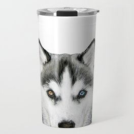 Siberian Husky dog with two eye color Dog illustration original painting print Travel Mug