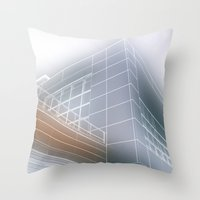 architect Throw Pillows featuring Minimalist architect drawing by Solar Designs