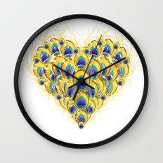 Peacock Heart Wall Clock