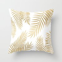 Throw Pillows featuring Gold palm leaves by Marta Olga Klara