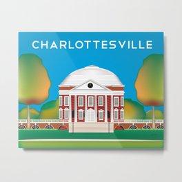 Charlottesville, Virginia - Skyline Illustration by Loose Petals Metal Print