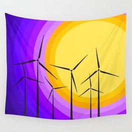 Windmills - Sunset Wall Tapestry