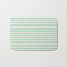 Mint Green and Cream Stripe Bath Mat