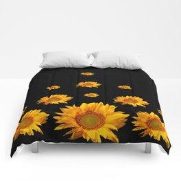 RAINING GOLDEN YELLOW SUNFLOWERS BLACK COLOR Comforters