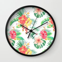 tropical watercolor floral pattern Wall Clock