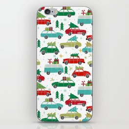 Christmas holiday vintage cars classic festive christmas tree snowflakes winter season iPhone Skin