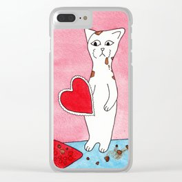 Meow The Cat Valentine's Day Chocolate Sadness Binge Clear iPhone Case