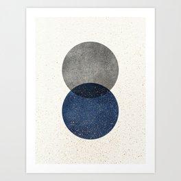 Circle Abstract - Grey Navy Texture Art Print