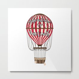 Retro Vintage Balloonist Hot Air Balloon Optimism Optimist Metal Print