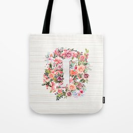 Initial Letter I Watercolor Flower Tote Bag