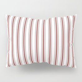 Vintage New England Shaker Barn Red Milk Paint Mattress Ticking Vertical Wide Striped Pillow Sham