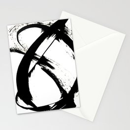 Brushstroke [7]: a minimal, abstract piece in black and white Stationery Cards