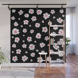 Cherry Blossom on Black Wall Mural