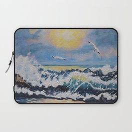 Impressionism Ocean Waves With Seagulls, Beach House Art and home decor Laptop Sleeve