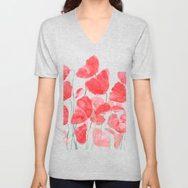 abstract red poppy field watercolor Unisex V-Neck